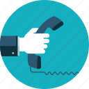 call, communication, contact, flat design, hand, people, telephone icon