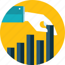 analysis, business, chart, flat design, hand, investment, people icon