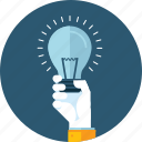 brainstorming, flat design, hand, idea, innovative, light bulb, people icon