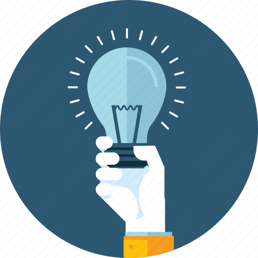 brainstorming, flat design, hand, idea, innovative, light bulb, people icon