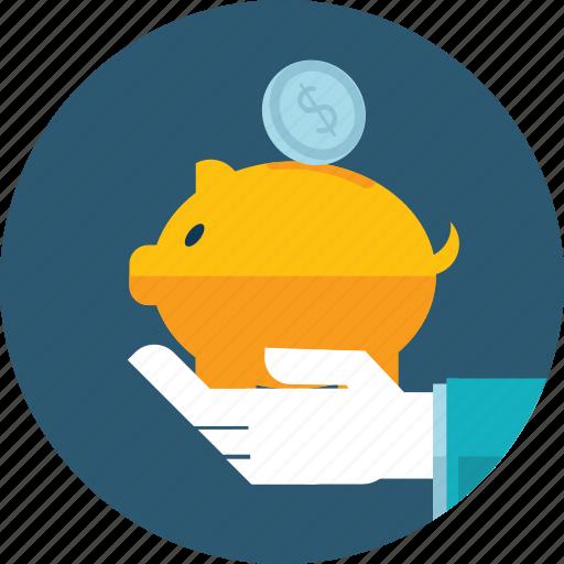 bank, flat design, hand, money, people, piggy bank, savings icon