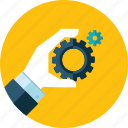 development, flat design, hand, people, process, service, technical support icon