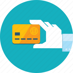 bank, credit card, flat design, hand, method, payment, people icon