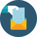 communication, email, flat design, hand, letter, people, send icon