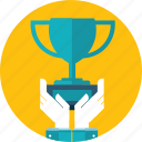 award, flat design, hand, people, prize, success, win icon