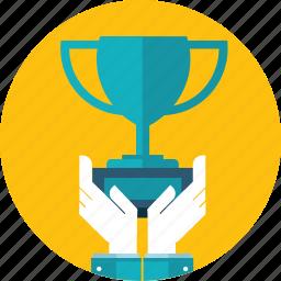 award, flat design, hand, people, prize, success, win icon
