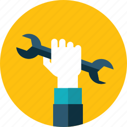 flat design, hand, maintenance, people, service, setting, support icon
