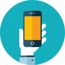 app, flat design, hand, marketing, mobile, people, responsive icon