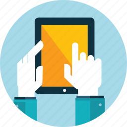 electronic devices, flat design, hand, people, responsive, tablet, website icon