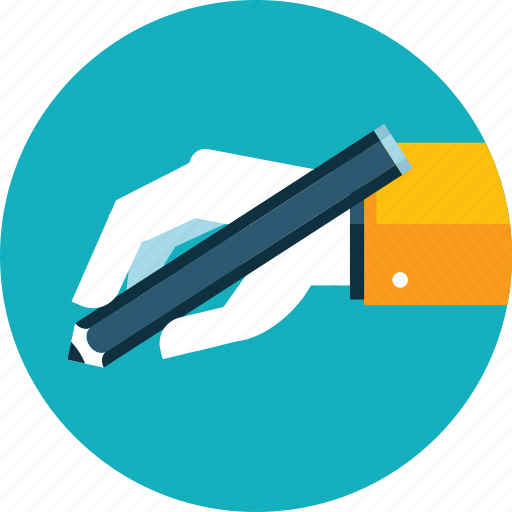 copywriting, education, flat design, hand, people, text, writing icon