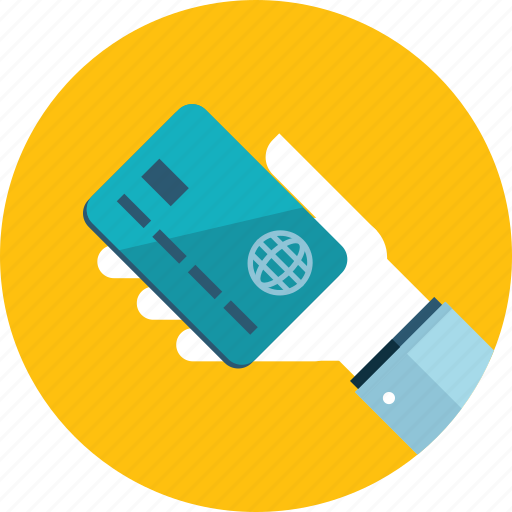 banking, credit card, flat design, hand, payment, people, shopping icon