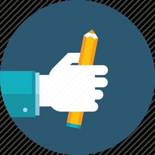 blog, copywriting, education, flat design, hand, people, writing icon