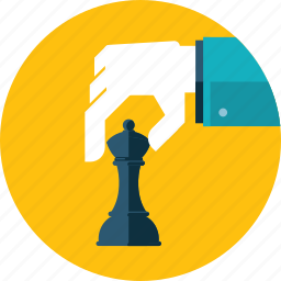 business, chess, concept, flat design, hand, people, strategy icon
