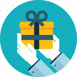delivery, flat design, gift, hand, people, present, receive icon