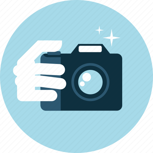 camera, flat design, gallery, hand, people, photography, picture icon