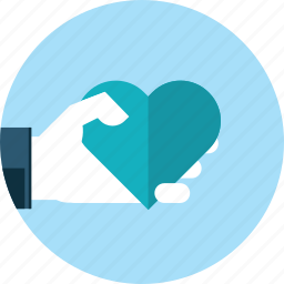 favourite, flat design, hand, heart, like, love, people icon