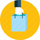 bag, flat design, hand, people, sale, shop, shopping icon
