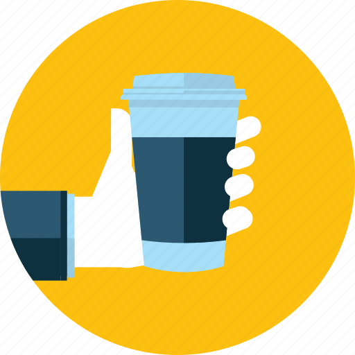 coffee, drink, flat design, hand, people, restaurant, shop icon