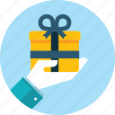 celebration, gift, hand, holiday, people, prize icon