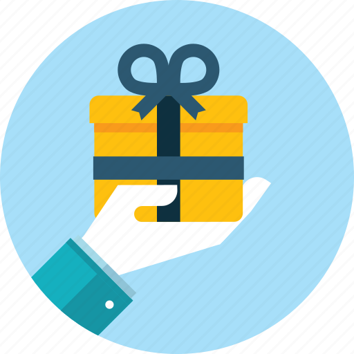 celebration, flat design, gift, hand, holiday, people, prize icon