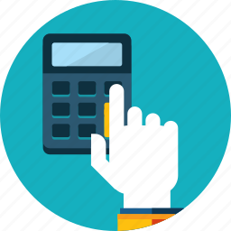 account, bill, calculation, calculator, flat design, hand, people icon