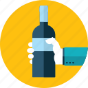 celebration, drink, flat design, hand, people, restaurant, wine icon