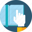 book, education, flat design, hand, library, people, shop icon