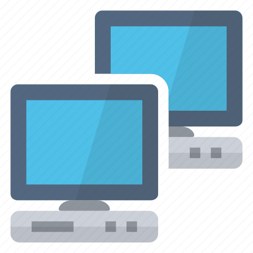computers, connected, connection, hardware, lan, monitors, network icon