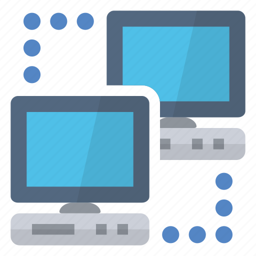 computers, connected, connection, hardware, link, network icon