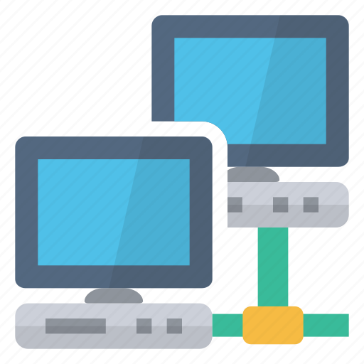 computers, connected, connection, hardware, monitors, network icon