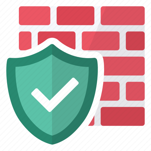 activated, active, firewall, hardware, network, protection, wall icon