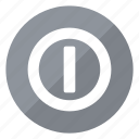 circle, grey, hardware, network, off, on, push icon