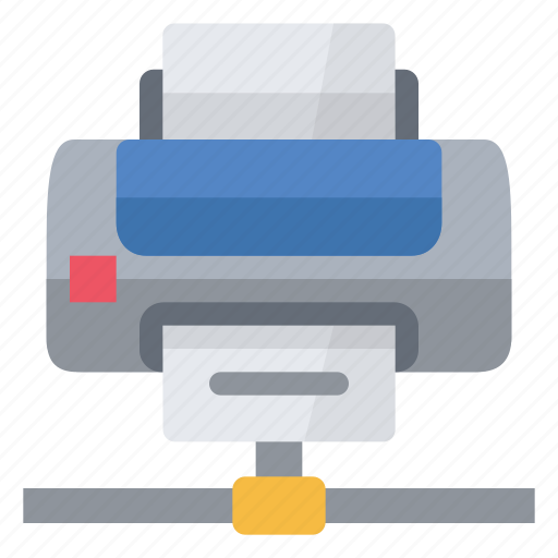 connected, device, document, hardware, network, print, printer icon