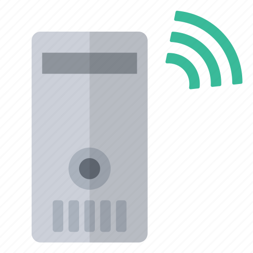 connected, data, green, hardware, network, server, wireless icon