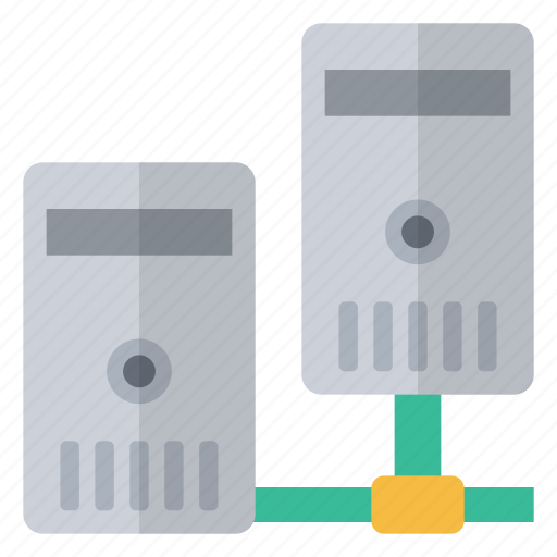 connected, data, hardware, information, linked, network, servers icon