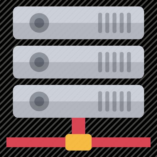 data, hardware, information, network, red, storage, unconnected icon