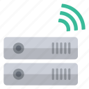 green, hardware, information, network, signal, storage, wireless icon