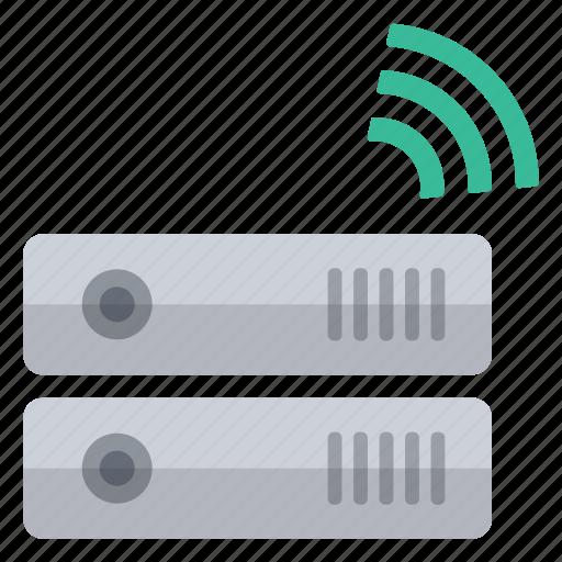 green, hardware, information, network, signal, storage, wireless icon