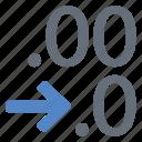 cell, decimal, decrease, spreadsheet icon