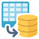 spreadsheet, database, document, export icon