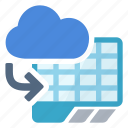 cloud, document, import, spreadsheet icon