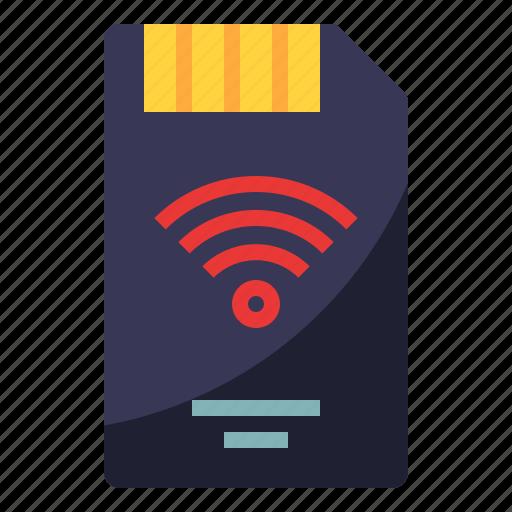 card, device, memory, sd, wifi icon