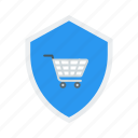 cart, ecommerce, online, protection, secure, security, shield, shop, shopping