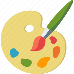 art, colors, creativity, paint brush, palette icon