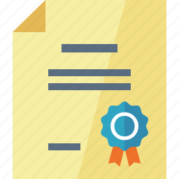 award, diploma, document, education, graduate, ribbon, school icon