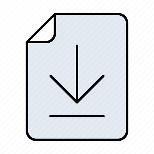 arrow, arrows, direction, document, documents, down, download, extension, file, files, page, paper, scaricato icon