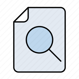 document, documents, file, find, glass, lens, magnifier, magnifying, paper, search, sheet, zoom icon