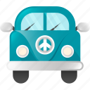 automobile, car, hippie, transportation, travel, vacation, van icon