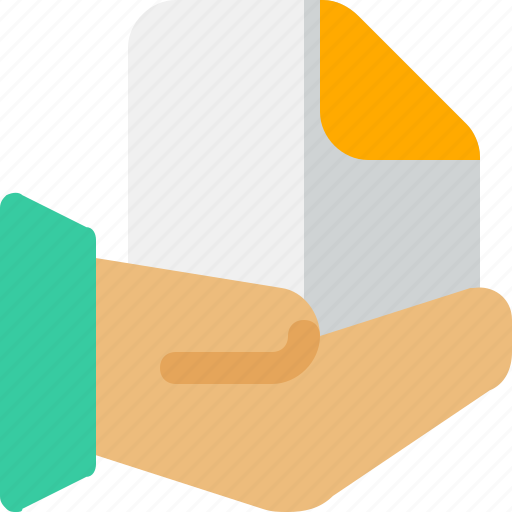 document, file, hand, paper, share icon