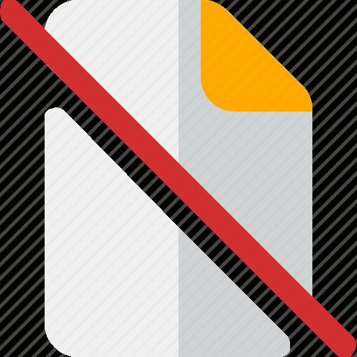 document, file, paper, slash icon